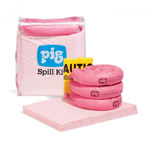 Pig Spill Kits In A See Thru Bag